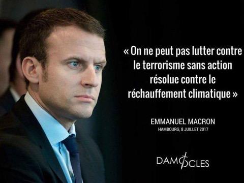 Macron lutte contre le réchauffement climatique contre le terrorisme