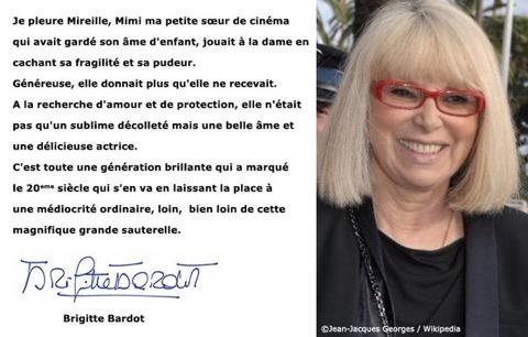 Adieu à Mireille Darc par BB