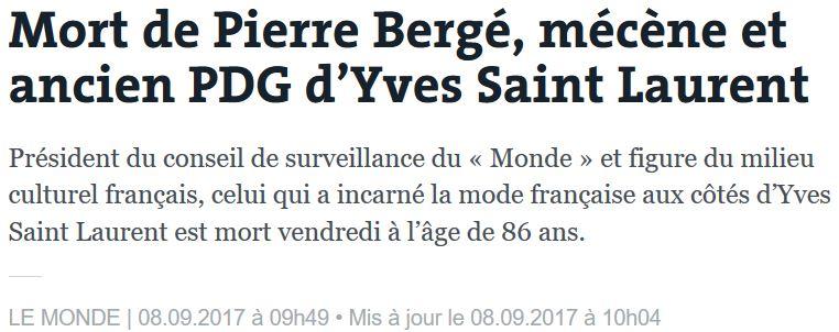 Mort de Pierre Bergé-08.09.2017