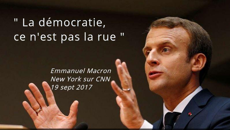 Macron sur CNN-La démocratie ce n'est pas la rue-19.09.2017