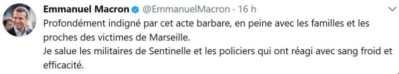 Macron indigné par cet acte barbare-Marseille-01.10.2017