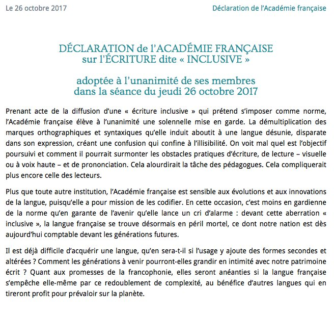 écriture inclusive-académie française-26.10.2017