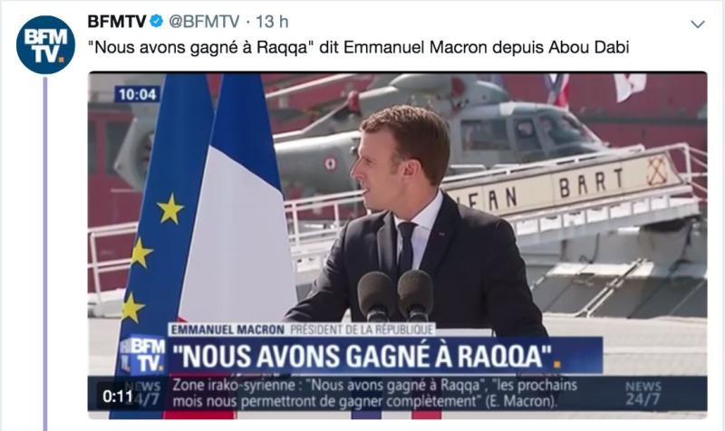 Macron-Nous avons gagné à Raqqa-08.11.2017