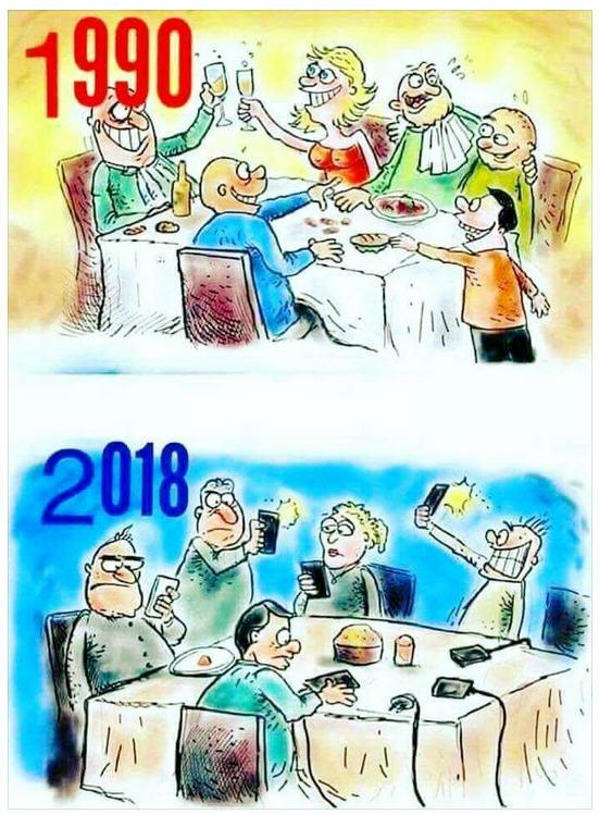Humour-Tablées de réveillon en 1990 et en 2017