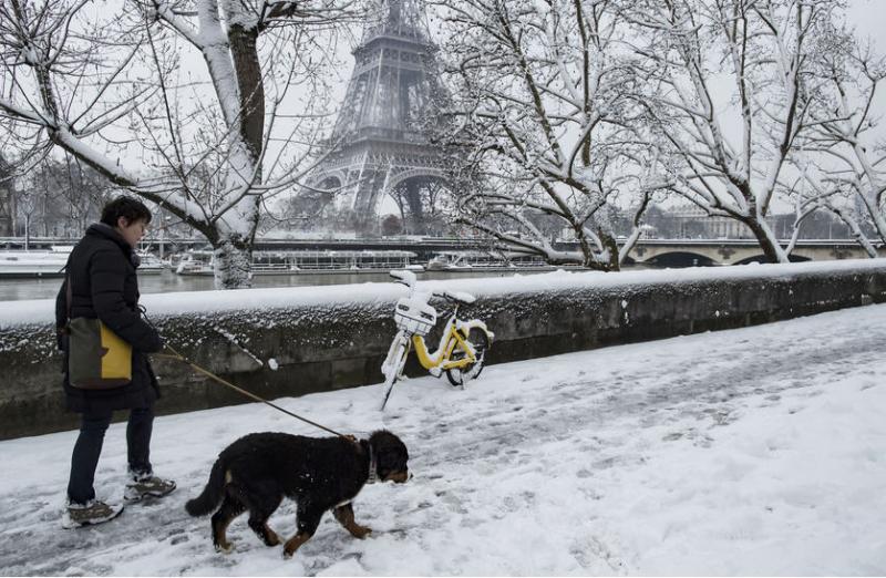 Neige-Paris-Femme au chien en bord de Seine-février 2018