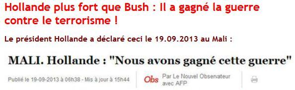 Hollande a gané au Mail la guerre contre le terrorisme