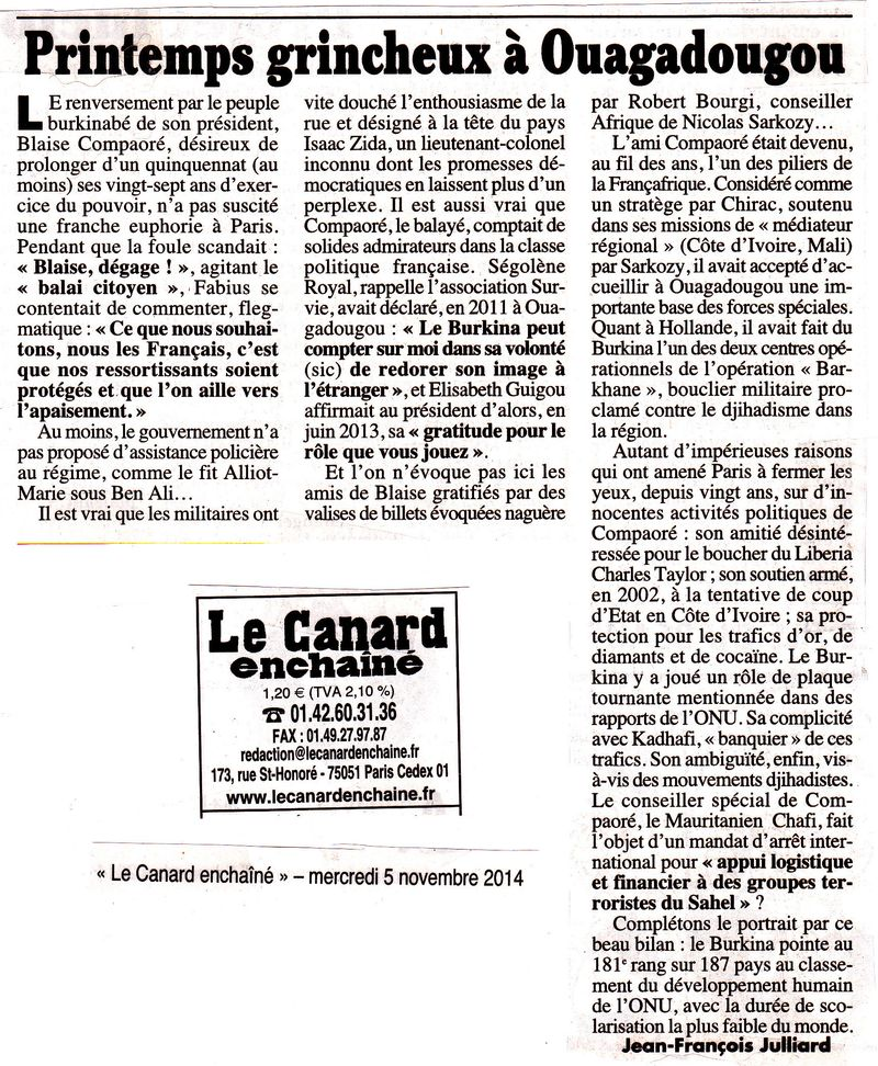 Le Canard enchaïné - Grincheux à Ouagadougou - 05.11.2014