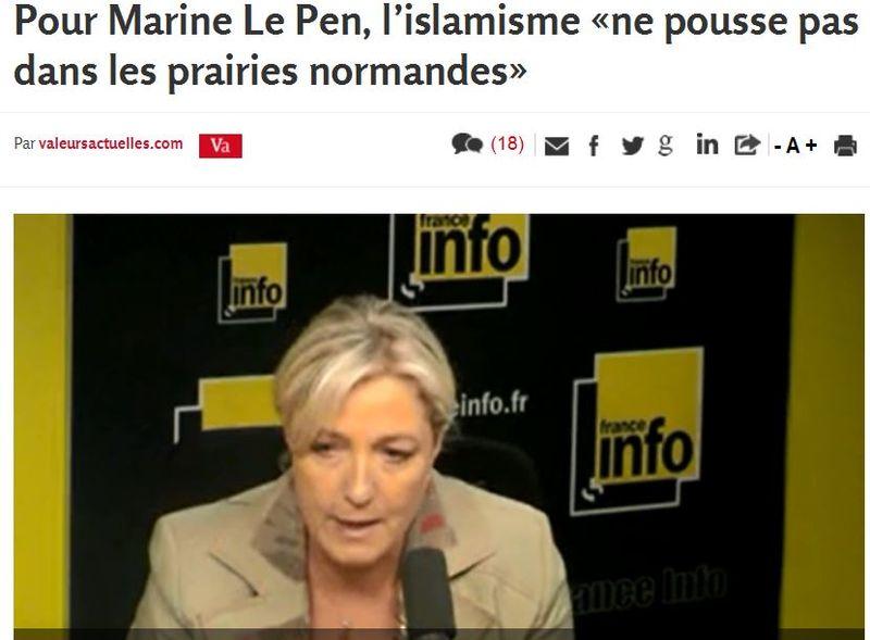 Marine Le Pen- Le fondamentalisme ne pousse pas dans les prairies normandes