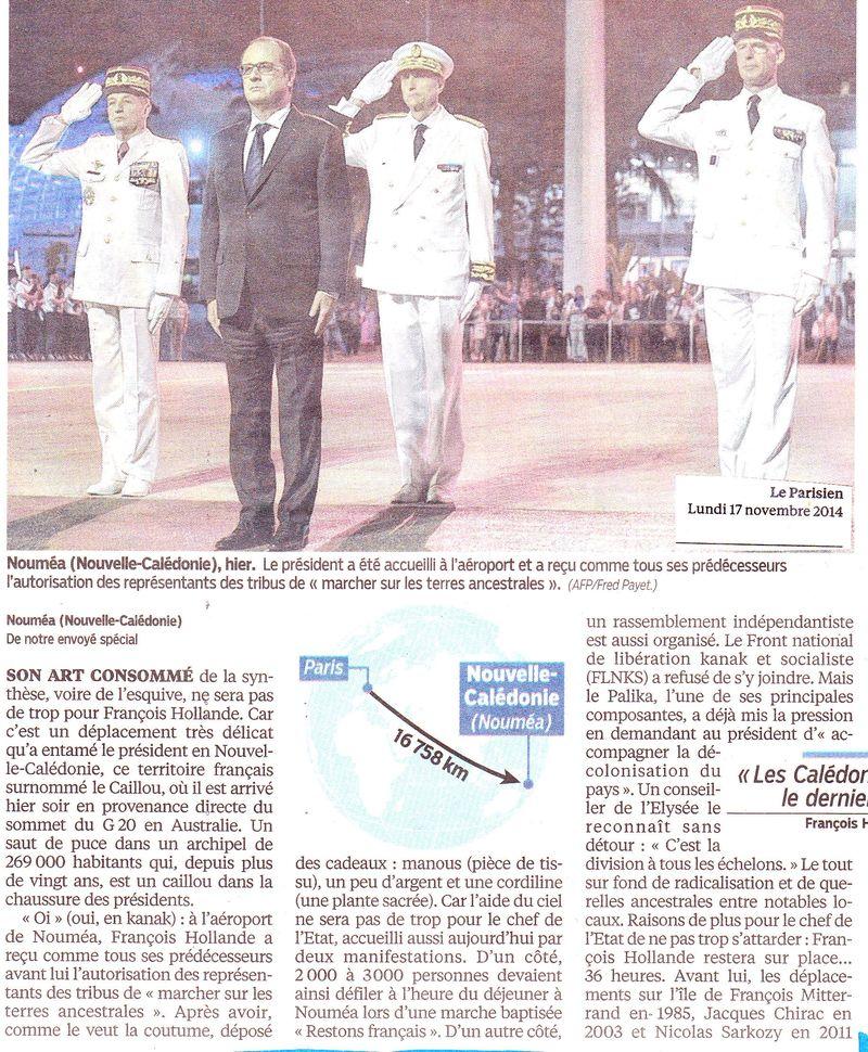 Hollande en Nouvelle Calédonie 16 novembre 2014