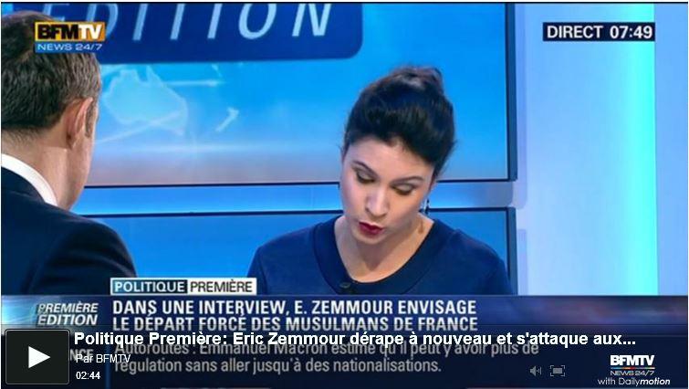 BFMTV-Zemmour envisage le départ forcé des musulmans de France