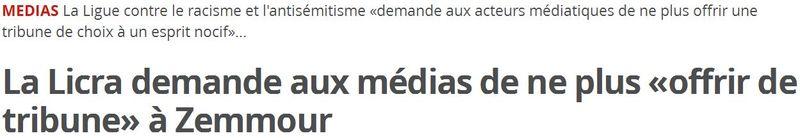 La LICRA demande aux médias de boycoter Zemmour-17.12.2014