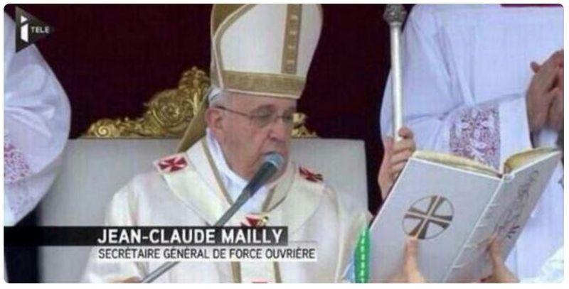ITélé-Jean-Claude Mailly déguisé en pape