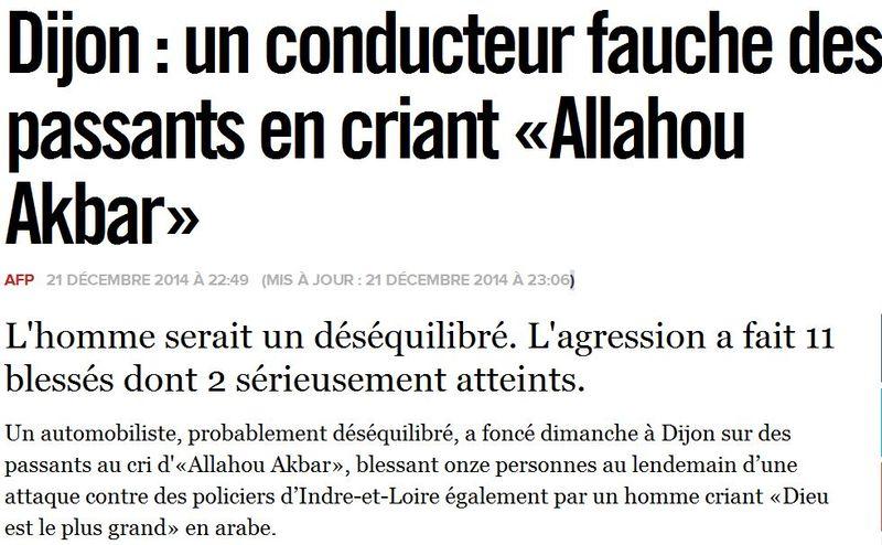Dijon - un déséquilibré fauche des passants - 21.12.2014