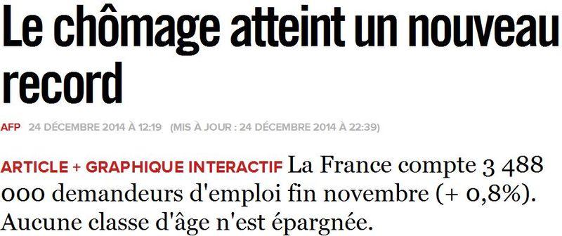 Chômage nouveau record novembre 2014-Titre Libération