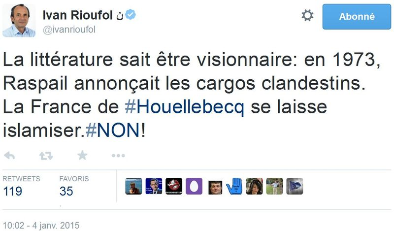 TWEET Ivan Rioufol sur Jean Raspail - 04.01.2015