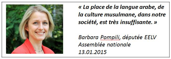 TWEET - Barbara Pompili -culture musulmane - 13.01.2015