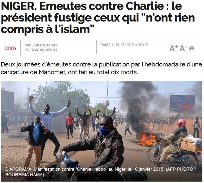 Niger - émeutes contre Charlie - 10 morts - 17.01.2015