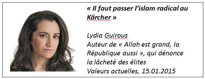 TWEET - Lydia Guirous -islam radical - 15.01.2015