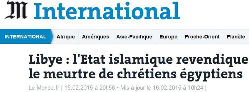LE MONDE - Daech meurtre de chrétiens égyptiens - 16.02.2015