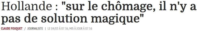 Hollande-chômage pas de solution magique-04.03.2015