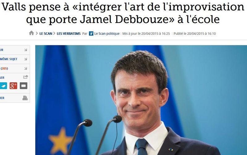 Valls - l'art de l'improvisaiton que porte Jamel Debbouze - 21.04.2015