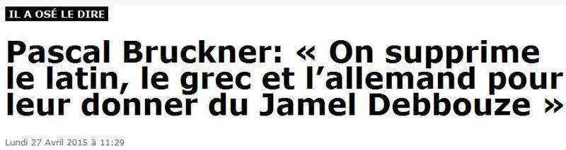 Pascal Bruckner dans Marianne - titre