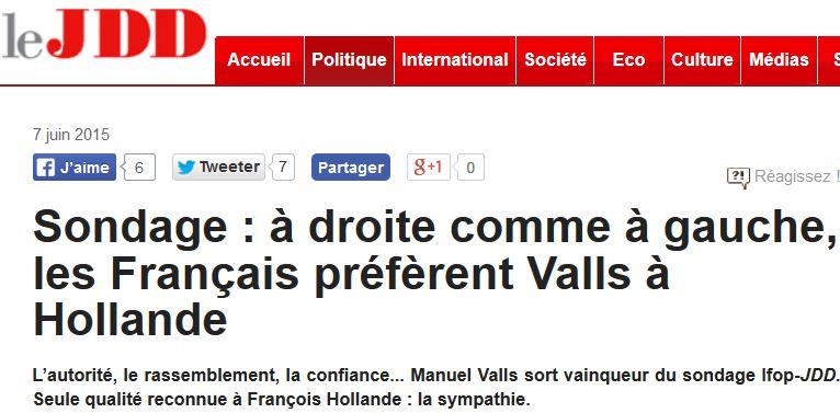 JDD-Les Français préfèrent Valls à Hollande-07.06.2015