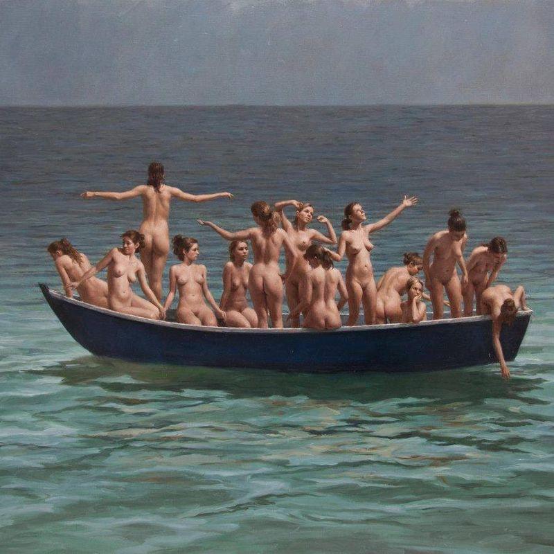 Bateau de migrantes en Méditerranée