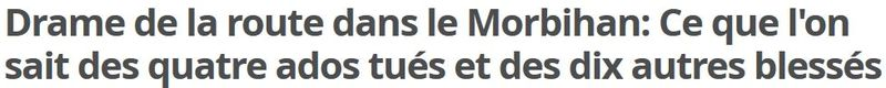 Drame de la route dans le Morbihan - 02.08.2015