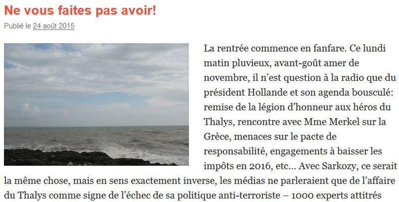 Maxime Tandonnet - Billet Ne vous faites pas avoir - 24.08.2015