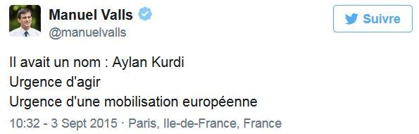 Tweet Manuel Valls sur photo petit garçon syrien-03.09.2015