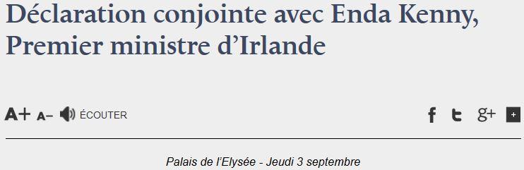 Elysée-déclaration conjointe avec Irlande-03.09.2015