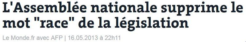Le mot RACE supprimé de  la législation-05.2013