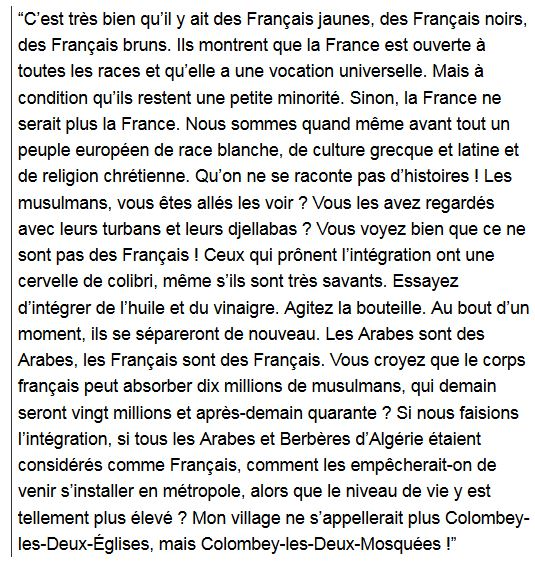 De Gaulle-déclaration sur la France pays de race blanche
