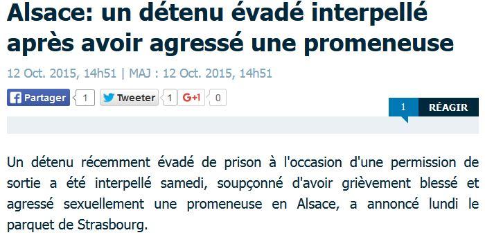 Alsace-un détenu évadé pendant une permission-12.10.2015