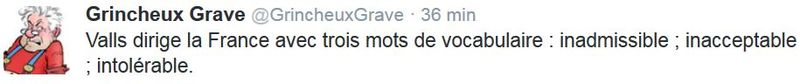 TWEET GG - inadmissible inacceptable intolérable-VALLS-21.10.2015