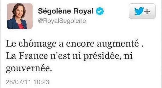 Royal tweet Le chômage a encore augmenté