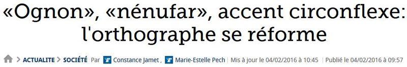 Réforme orthographe-TITRE Le Figaro-04.02.2016