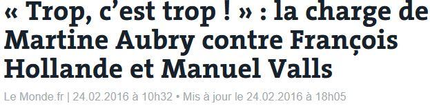 Martine Aubry - Trop c'est trop