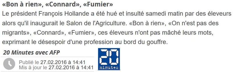 Hollande bon à rien connard fumier-salon agriculture 2016.-AFP 20 MINUTESJPG
