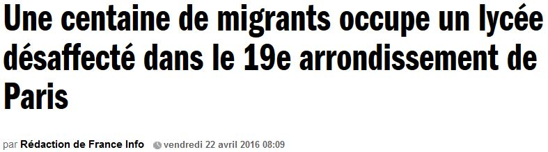 France Info - Une centaine de migrants occupe-22.04.2016