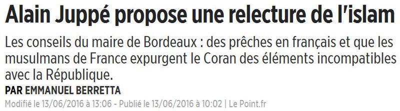 Juppé propose de réécrire le coran-13.06.2016