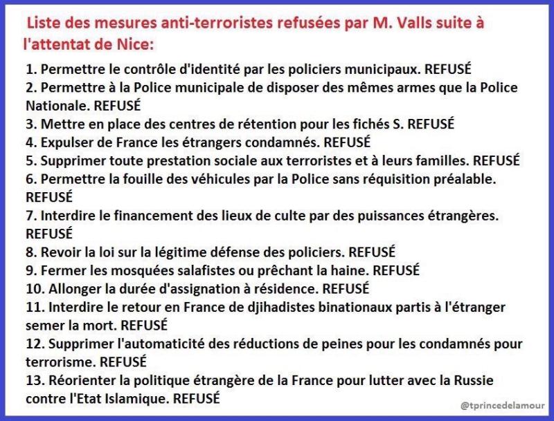 Mesures anti-terroristes refusées par Valls