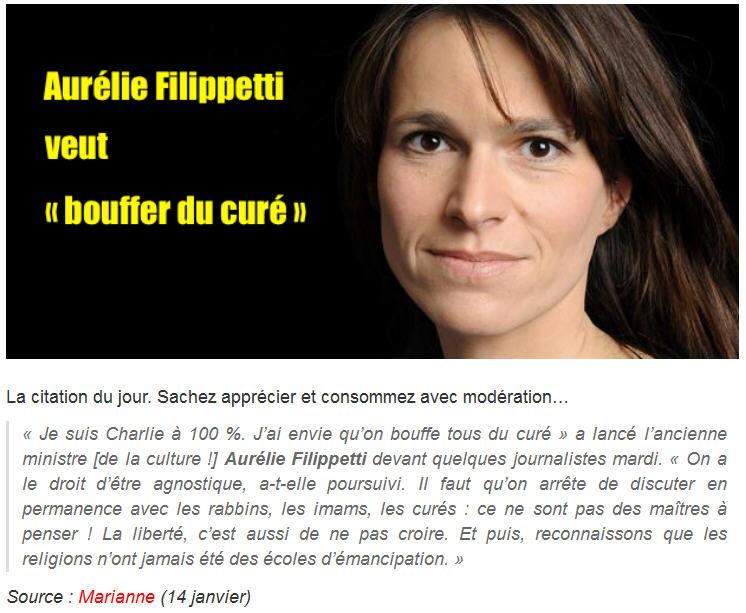 Aurélie Filippetti-bouffer du curé-13.01.2015