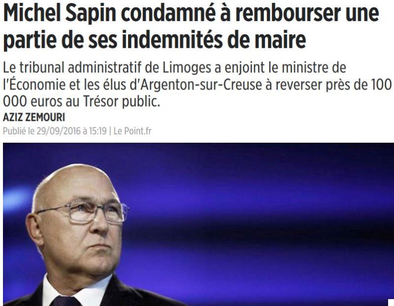 Sapin rembourse 100 000 euros au Trésor Public-30.09.2016