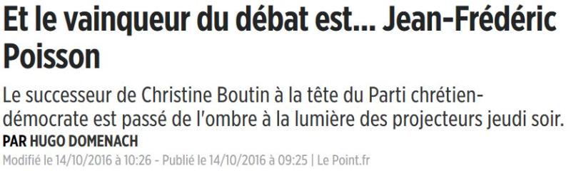 LE POINT-JF Poisson vainqueur du débat-14.10.2016