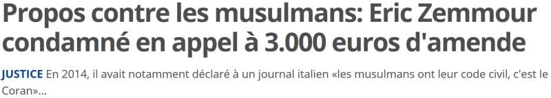 Zemmour condamné à 3000 euros d'amende-18.11.2016