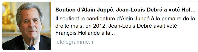 Jean-Louis Debré a vote hollande et va voter Juppé