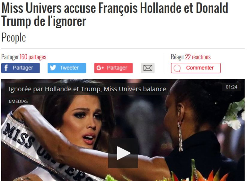 Miss Univers ignorée par Hollande