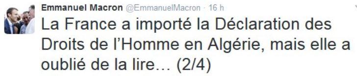 TWEET MACRON-droits de l'homme en Algérie-15.02.2017